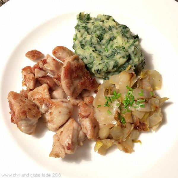 Kalbsbries, Spinat-Kartoffelpüree