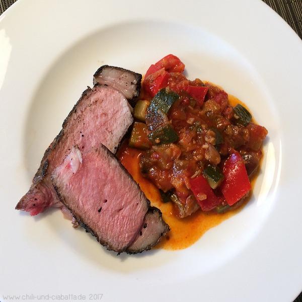 KalbsTomahawk Steak mit Ratatouille