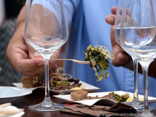 Asche Aged Carpaccio, gegrillter Salat