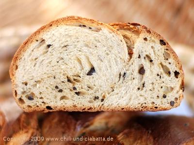 Kaffee-Brot, aufgeschnitten