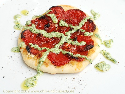 Tomato-Mascarpone-Pizzette with Goat Cheese-Parsley Pesto