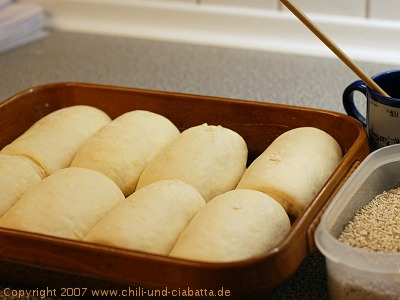 rolled dough in the pan