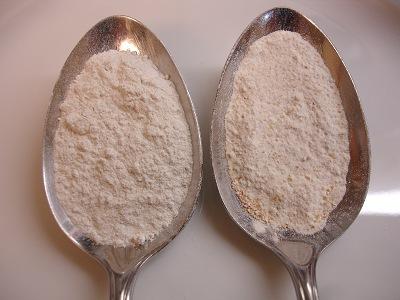 Vergleich Weizenmehl Type 1050 und Ruchmehl