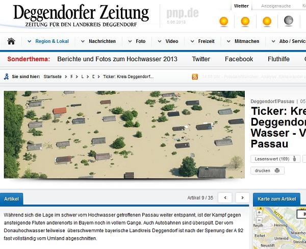 Hochwasser in Deggendorf, Fischerdorf unter Wasser