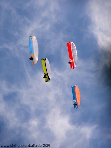 Drachenflieger im Formationsflug
