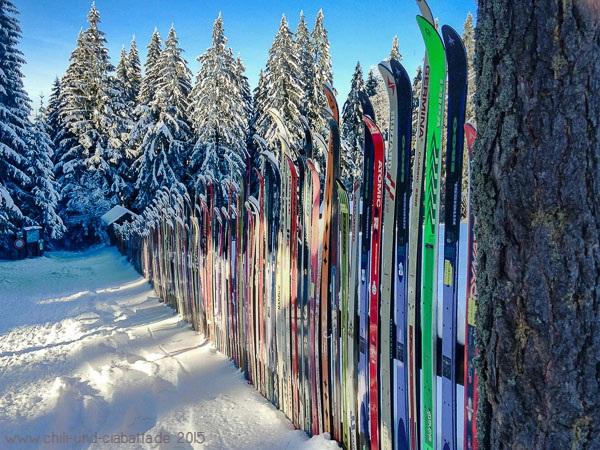 Skier auf dem Weg zum Kleinen Arbersee