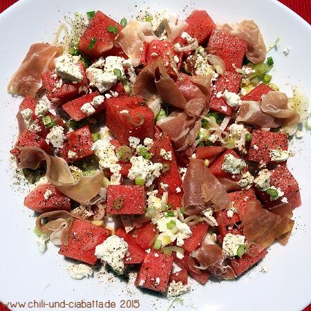 Wassermelone, Frühlingszwiebel, Feta, Parmaschinken