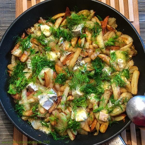 Fenchel-Kartoffel-Pfanne mit Blauschimmelkäse