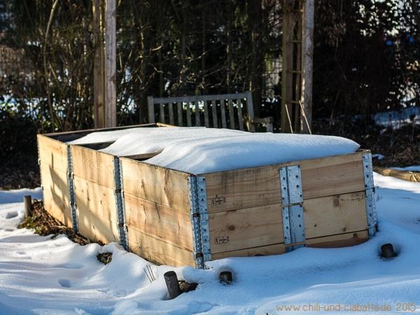 Hochbeet unter Schnee