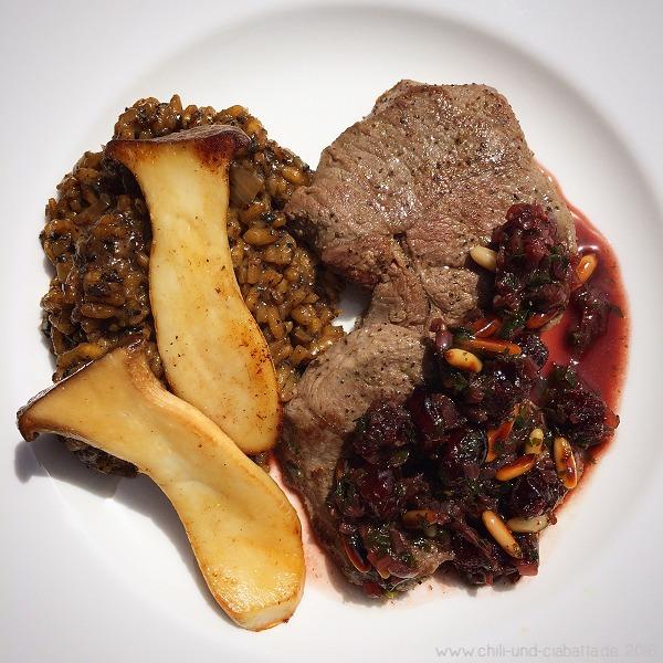 Rehschnitzel mit Pilzrisotto
