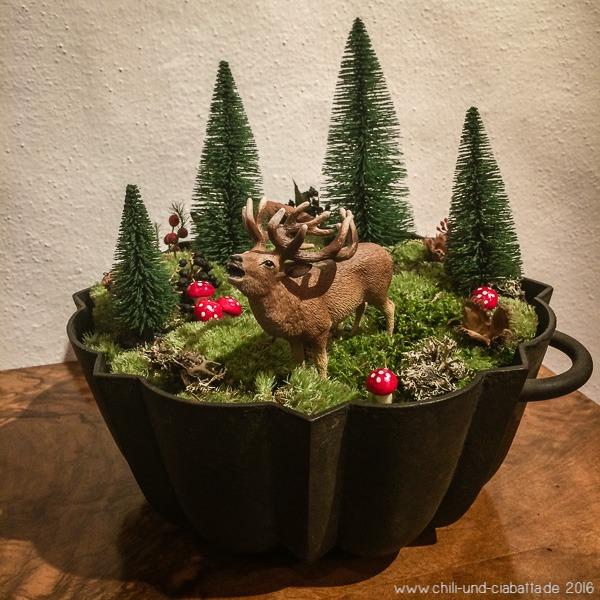 Weihnachtsdeko Hirsch in Gugelhupfform