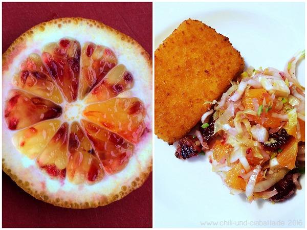 Gebackener Feta mit warmem Chicoree-Orangen-Salat
