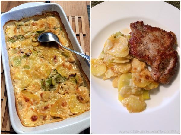 Kartoffel-Lauch-Gratin mit Kalbskotelett