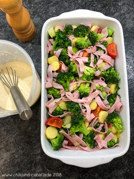 Kartoffel-Brokkoli-Gratin mit Schinken