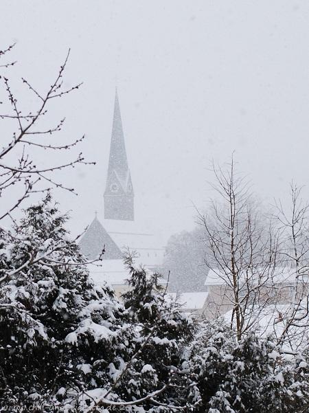 Schneefall, Kirche Teisnach