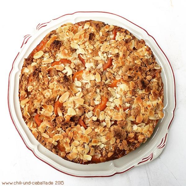 Aprikosenkuchen mit Amarettini-Mandelkruste
