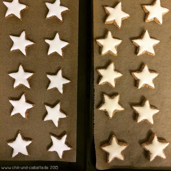 Zimtsterne ungebacken - gebacken